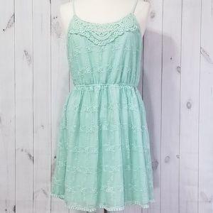 Pinky Pastel Teal Crochet Tulle Summer Dress XL